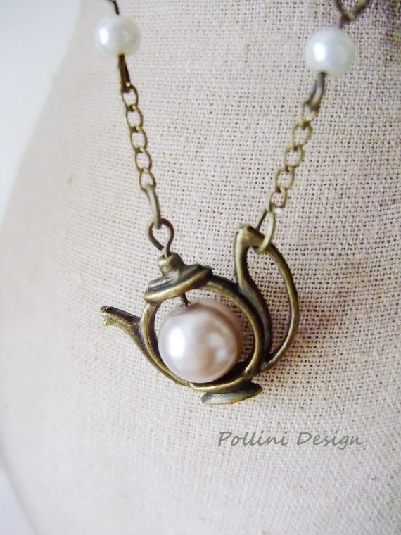 Have a Tea Necklace. Antique Teapot  with Pearl. Pastel (VNL-17)