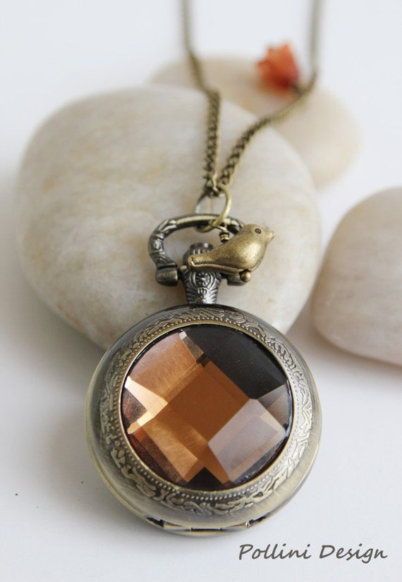 Antique Gold  Amber Crystal Pocket Watch Necklace Decorated with Little Birdie and Lucite Tulip (PW-03)