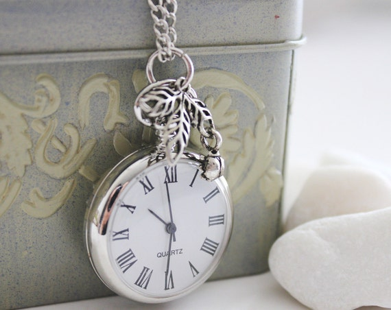 Sunday Morning. Silver Pocket Watch Necklace Decorated with Leaf and Ladybird Charm. Precious Time  Series. (PW-46)