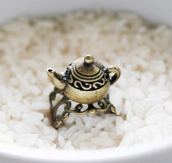 Vintage Teapot on Bronze Vintage Filigree Base. Antique Gold (RG-12)