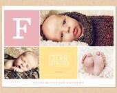 Photo Birth Announcement - Colorblock Monogram