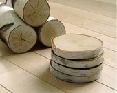 Reserved for Marian - natural white birch wood coasters (set of 2)