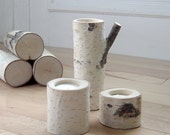 natural white birch wood candle holders - set of 3
