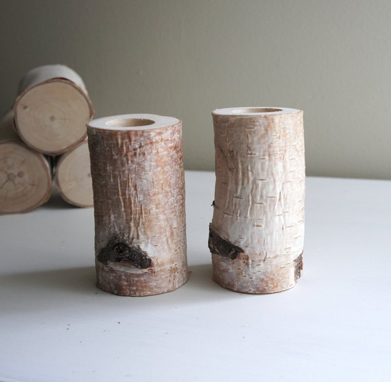 Sale - natural white birch taper candle holders - set of 2