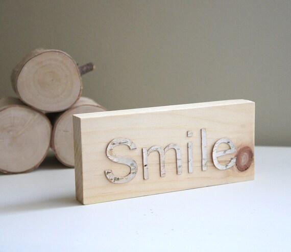 Sale - white birch forest wooden block - smile
