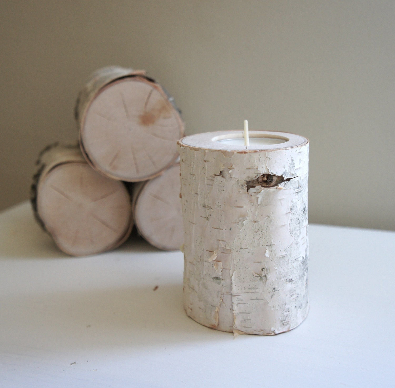 Home Made Modern Craft Of The Week 2 Rustic Christmas Stars: Natural White Birch Wood Candle Holder Single