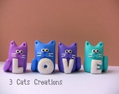 Four Polymer Clay Cat Figurines-Love