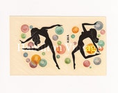 Vintage 1950s Duro Decal Silhouette Dancers with Bubbles