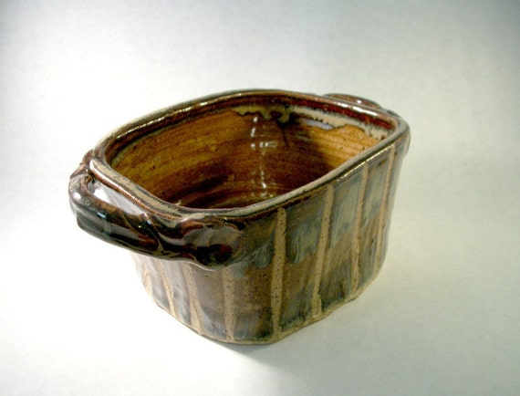Handmade Rustic Primitive Pottery Pot with Double Handles Brown Glaze