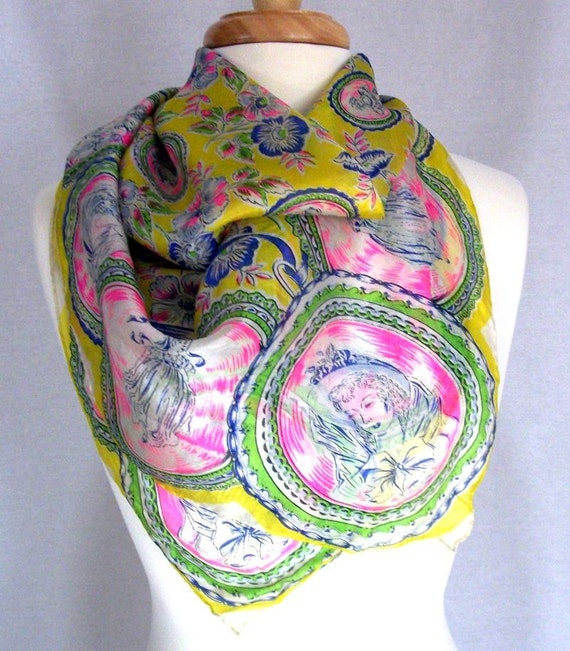 1950s Lovely Ladies Large Square Silk Scarf