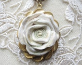 White Rose Pendant Necklace OOAK Polymer Clay