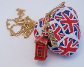Union Jack Necklace with Big Ben and Phonebox Charms