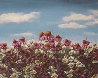 Daisies Large Painting, Daisies and Pink Cone Flowers, 30 x 24 inches Canvas, Large Acrylic Original Painting,  Daisy Cone Flower Painting