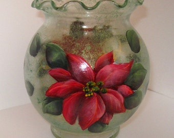 Painted Glass, Red  Poinsettia Ivy Bowl, 5.5 inches H. Acrylic Painting