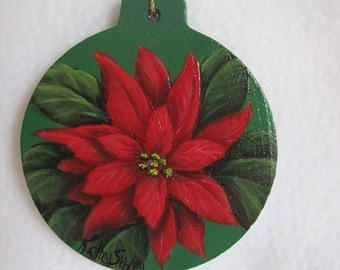 Poinsettia Painted Ornament, Original Artwork, 3 x 3.5 inches,  Red Poinsettia, Acrylic Original Freehand Painted Ornament