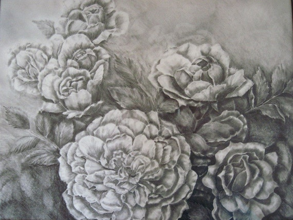 Roses Graphite Drawing, Original Graphite Drawing, Matted and Framed, 17 x 14 inches, Soft Old-fashion Roses, Rose Blossom Painting