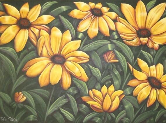 Black-eyed Susans,  Large Orginal Painting, 36 x 24 inches, Acrylic Painting, Rudbeckia