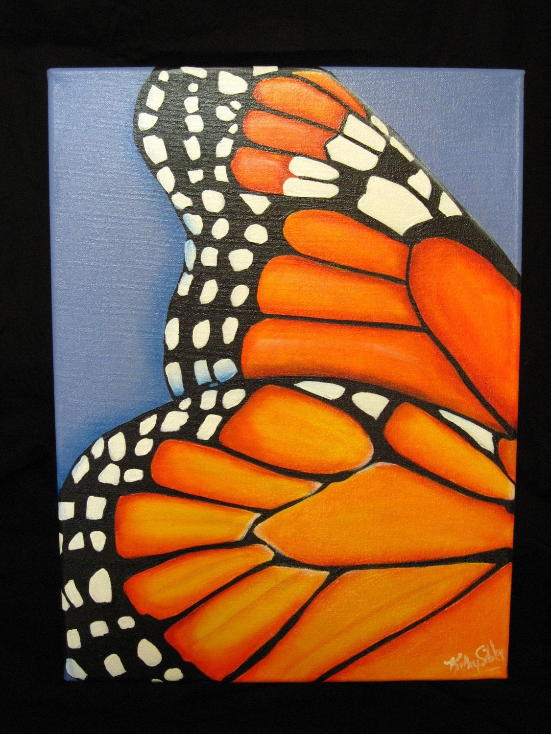 Original Painting Monarch Butterfly Wing