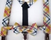 SALE - bow tie and suspenders for toddler boy - mustard gray black and red plaid