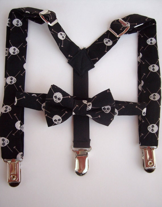 bow tie and suspender set for toddler boy - black with skulls MICHAEL MILLER