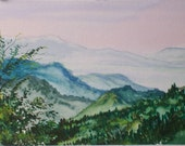 Morning in the Blue Ridge Mountains, Watercolor, 5x7 inches