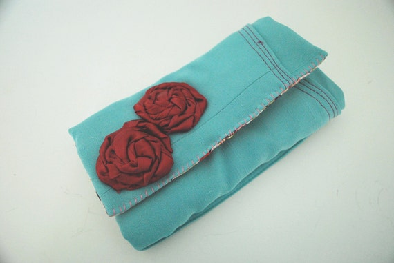 Vintage Tiffany Blue Vest Trifold Clutch Wallet w Fuchsia Rosettes and Zipper Pouch