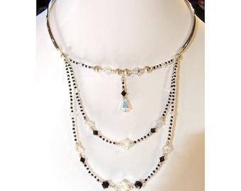 Swarovski Austrian crystal AB and jet black crystal three strand necklace