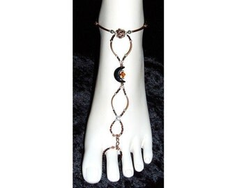 Copper rose and onyx moon slave anklet brockus creations