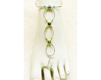 Slave anklet barefoot sandal peridot and aqua Swarovski crystal brockus creations handcrafted jewelry - adjustable