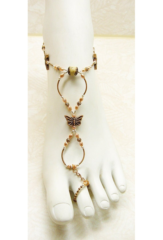 Slave anklet barefoot sandal copper butterfly and picture jasper brockus creations handcrafted jewelry