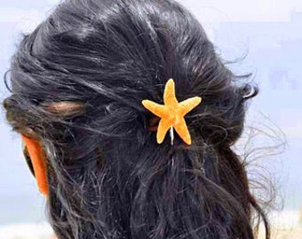 Little Shimmery Starfish Hair Pins, Beach Hair Accessories, Beach Wedding, Mermaid