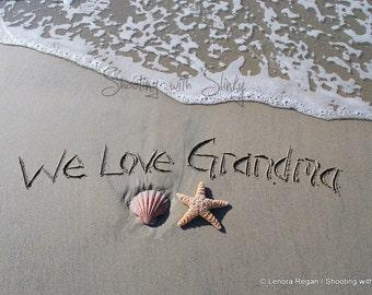 8x10 PRINT CUSTOM any message you'd like written in the sand, sand writing on Huntington Beach Sand, nautical beach writing