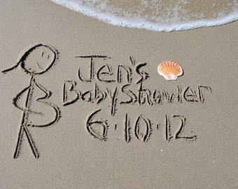 BABY SHOWER - Pregnant Stick People written in the ReaL beach sand, sand writing, personalized .jpeg Download Printable DIY, beach writing