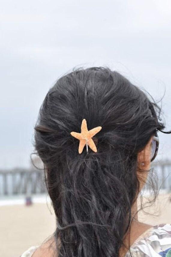 Cute Shimmery Sugar Starfish Bobby Pin Beach Brides  Beach Girl Mermaid Hair Bridal Accessory Wedding Starfish