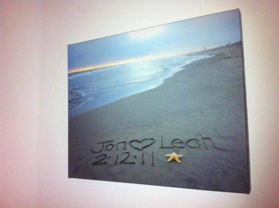 Eco-conscious Stretched CANVAS Gallery Wrap 16x24 Sand writing, Personalized Names Message Written in REAL Sand