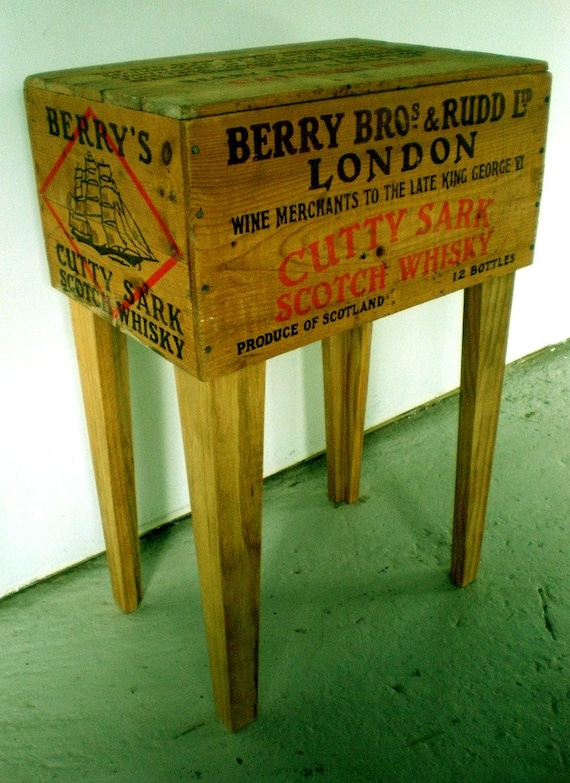 Shipping crate side table cutty shark whisky 12in x by for Re storage crate