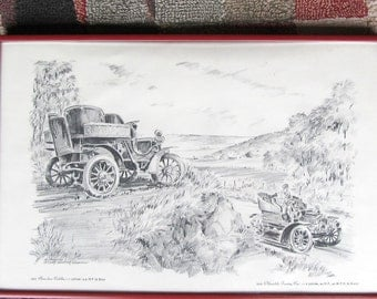 AL REPPLE Framed Sketch Creation 1903 Cadillac and 1905 Oldsmobile ©  1968