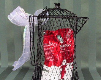 Black Mesh Wire Coffee Pot  Shabby Chic - Primitive