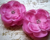 Rhinestone Centered Flowers-Mauve Pink-Set of Two