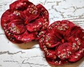 SET OF TWO Velvet Beaded Flowers-Dark Red