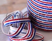 "CLEARANCE Striped Glitter Elastic-3/8"" Width-5 Yards-Red White and Blue"