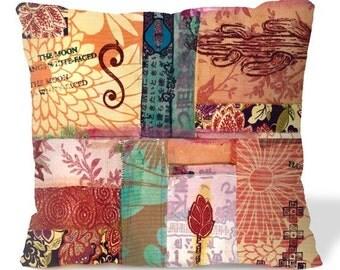 Mexican Folk ART Pillow Cover - 18x18 - Original Collage - Southwest Home Decor - European Linen Backing