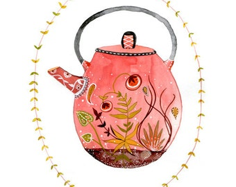 teapot terrarium 5x7 archival print