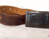 ON SALE 1976 Brass US Postage Bi-Centennial 1776 Stamp Buckle w/ Original Leather Belt Strap