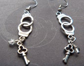 Silver Handcuff Earrings w/ Swarovski Crystals & Key Charms
