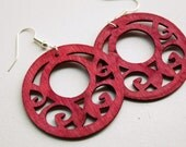 Hilda. Distressed Wooden Fancy Dangles in Red by Lemon Kissed. free shipping.