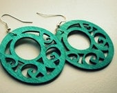 Hilda. Distressed Wooden Fancy Dangles in Teal by Lemon Kissed. free shipping.