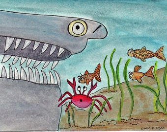 "Kids Bathroom Art,  4 x 6 Inch Illustration Under The Sea Kids Wall Art ""Wrong Way"""