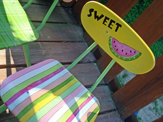 Reserved for ronihaskell      Hand Painted Child's Chair Recycled Furnishings-SALE