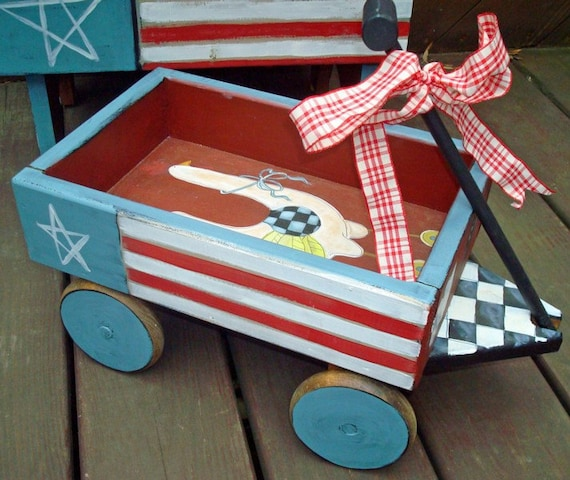 Wooden Wagon Patriotic Primitive- SALE